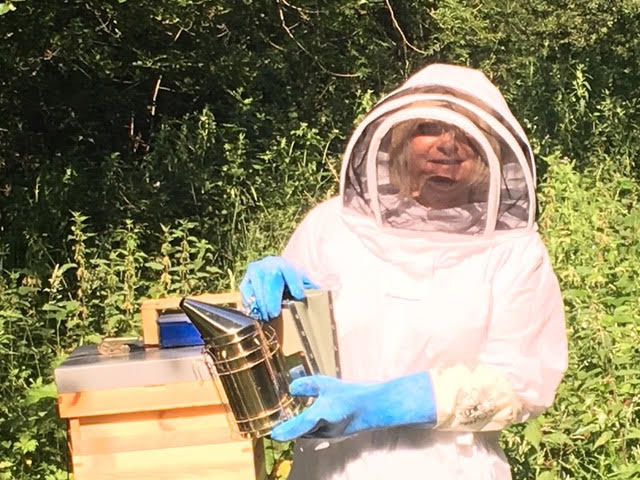 Volunteer Viv Barclay making her first hive inspection.